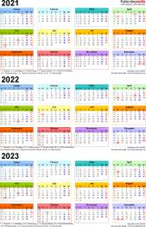Excel-Vorlage für Dreijahreskalender 2021-2023 (Hochformat, 1 Seite, in Farbe)