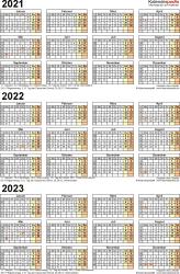 PDF-Vorlage für Dreijahreskalender 2021-2023 (Hochformat, 1 Seite)