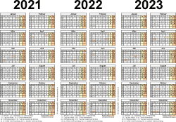 Excel-Vorlage für Dreijahreskalender 2021-2023 (Querformat, 1 Seite)