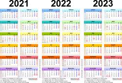 Excel-Vorlage für Dreijahreskalender 2021-2023 (Querformat, 1 Seite, in Farbe)