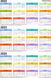 Word-Vorlage für Dreijahreskalender 2022-2024 (Hochformat, 1 Seite, in Farbe)