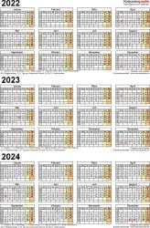 Word-Vorlage für Dreijahreskalender 2022-2024 (Hochformat, 1 Seite)