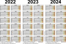 Word-Vorlage für Dreijahreskalender 2022-2024 (Querformat, 1 Seite)