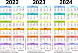 Word-Vorlage für Dreijahreskalender 2022-2024 (Querformat, 1 Seite, in Farbe)