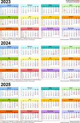 PDF-Vorlage für Dreijahreskalender 2023-2025 (Hochformat, 1 Seite, in Farbe)