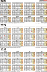 PDF-Vorlage für Dreijahreskalender 2023-2025 (Hochformat, 1 Seite)