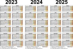 PDF-Vorlage für Dreijahreskalender 2023-2025 (Querformat, 1 Seite)