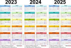 Word-Vorlage für Dreijahreskalender 2023-2025 (Querformat, 1 Seite, in Farbe)