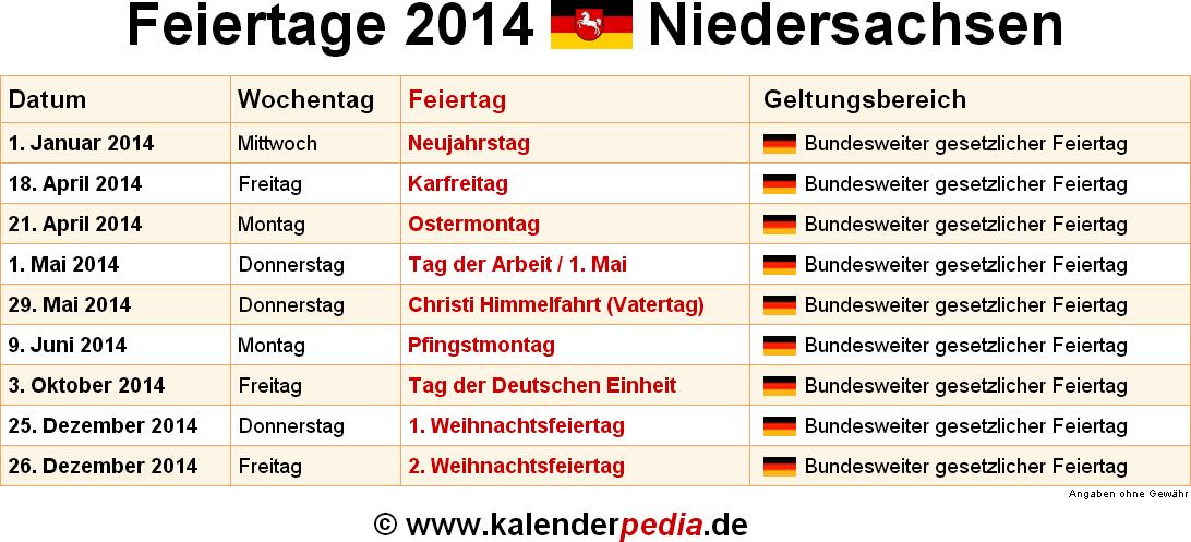 Himmelfahrt Feiertag Niedersachsen