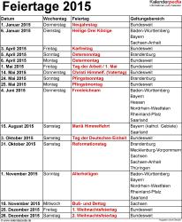 Feiertage 2015 als Excel-, Word- & PDF-Vorlagen zum Download und Ausdrucken