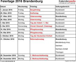 Feiertage Brandenburg 2016 als Excel-, Word- & PDF-Dateien