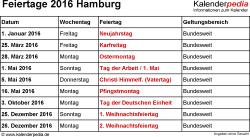 Feiertage Hamburg 2016 als Excel-, Word- & PDF-Dateien