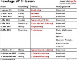 Feiertage Hessen 2016 als Excel-, Word- & PDF-Dateien