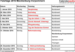 Feiertage Mecklenburg-Vorpommern 2016 als Excel-, Word- & PDF-Dateien