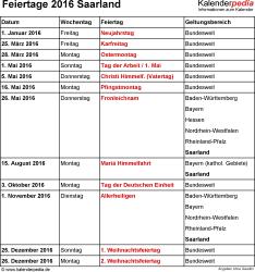 Feiertage Saarland 2016 als Excel-, Word- & PDF-Dateien