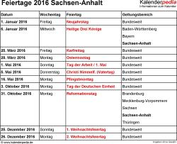 Feiertage Sachsen-Anhalt 2016 als Excel-, Word- & PDF-Dateien