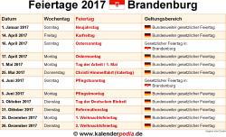 Feiertage 2017 Brandenburg