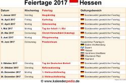 Feiertage 2017 Hessen