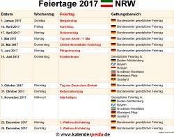 Feiertage 2017 NRW