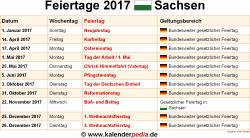 Feiertage 2017 Sachsen
