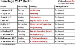 Feiertage Berlin 2017 als Excel-, Word- & PDF-Dateien