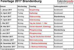 Feiertage Brandenburg 2017 als Excel-, Word- & PDF-Dateien
