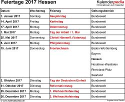 Feiertage Hessen 2017 als Excel-, Word- & PDF-Dateien