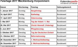 Feiertage Mecklenburg-Vorpommern 2017 als Excel-, Word- & PDF-Dateien