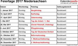 Feiertage Niedersachsen 2017 als Excel-, Word- & PDF-Dateien