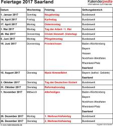 Feiertage Saarland 2017 als Excel-, Word- & PDF-Dateien
