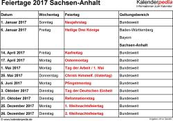 Feiertage 2017 Sachsen-Anhalt