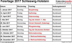 Feiertage Schleswig-Holstein 2017 als Excel-, Word- & PDF-Dateien