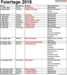 Feiertage 2018 als Excel-, Word- & PDF-Vorlagen zum Download und Ausdrucken