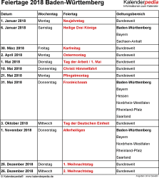 Feiertage Baden-Württemberg 2018 als Excel-, Word- & PDF-Dateien