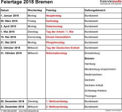 Feiertage Bremen 2018 als Excel-, Word- & PDF-Dateien