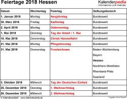 Feiertage Hessen 2018 als Excel-, Word- & PDF-Dateien