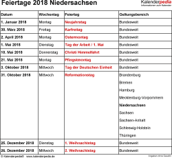 Feiertage Niedersachsen 2018 als Excel-, Word- & PDF-Dateien