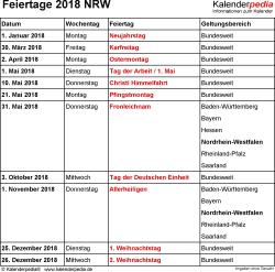 Feiertage NRW 2018 als Excel-, Word- & PDF-Dateien