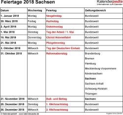 Feiertage Sachsen 2018 als Excel-, Word- & PDF-Dateien