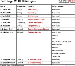 Feiertage Thüringen 2018 als Excel-, Word- & PDF-Dateien