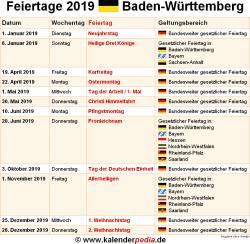 Feiertage Baden Württemberg 2019 2020 2021