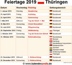 Weihnachten 2019 Thüringen.Feiertage Thüringen 2019 2020 2021 Mit Druckvorlagen