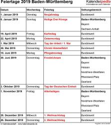 Feiertage Baden-Württemberg 2019 als Excel-, Word- & PDF-Dateien