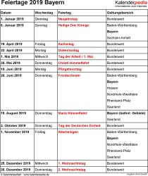 Feiertage Bayern 2019 als Excel-, Word- & PDF-Dateien