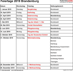 Feiertage Brandenburg 2019 als Excel-, Word- & PDF-Dateien