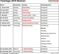 Feiertage Bremen 2019 als Excel-, Word- & PDF-Dateien