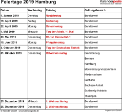 Feiertage Hamburg 2019 als Excel-, Word- & PDF-Dateien