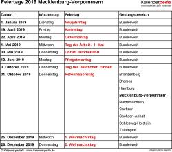 Feiertage Mecklenburg-Vorpommern 2019 als Excel-, Word- & PDF-Dateien