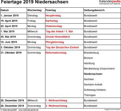 Feiertage Niedersachsen 2019 als Excel-, Word- & PDF-Dateien