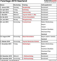 Feiertage Saarland 2019 als Excel-, Word- & PDF-Dateien